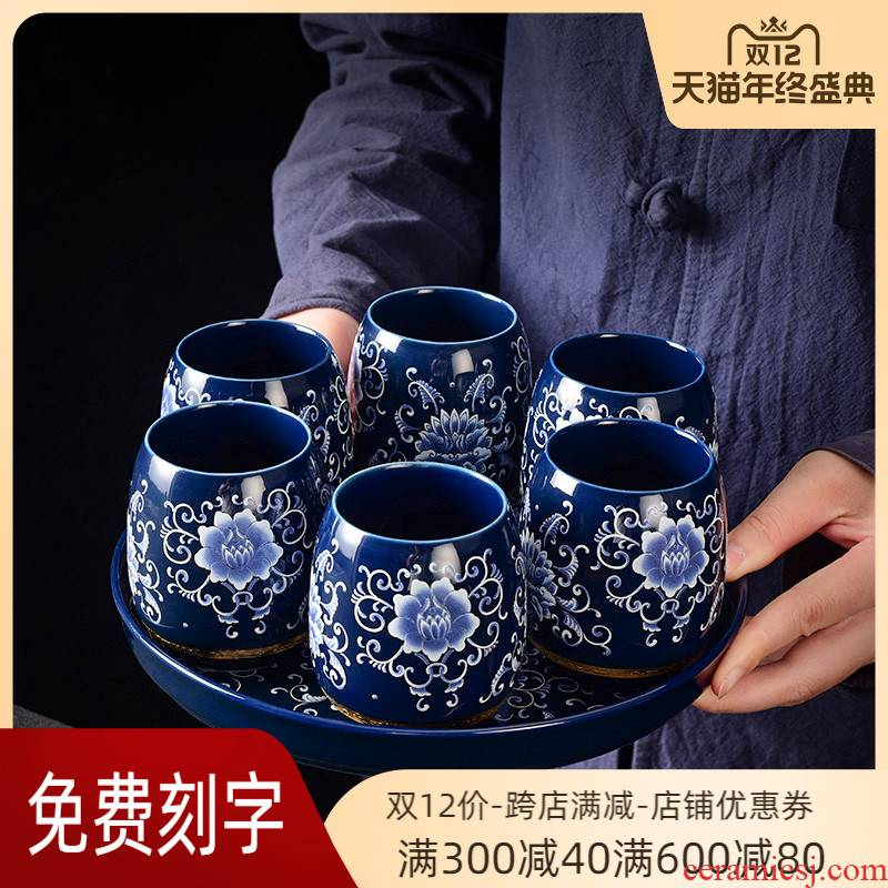 Office with glass ceramic cup large cup contracted sitting room glass suit household family pack of water glass