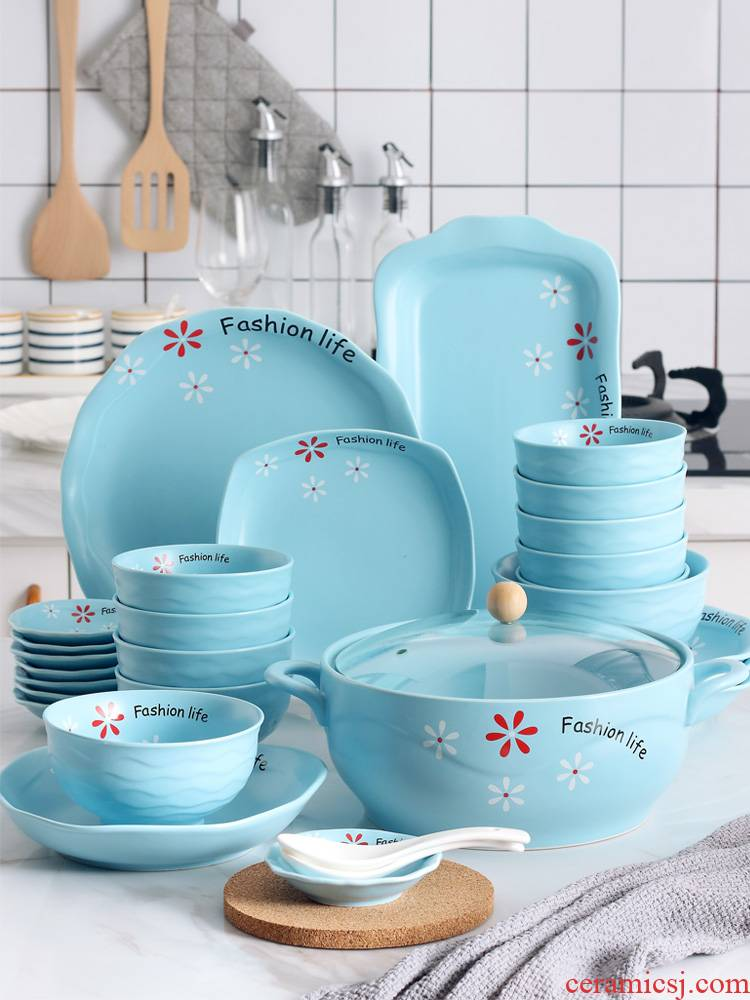 Eat dishes suit household ceramic bowl dish plate of creative move rainbow such as bowl soup bowl jingdezhen plate suit