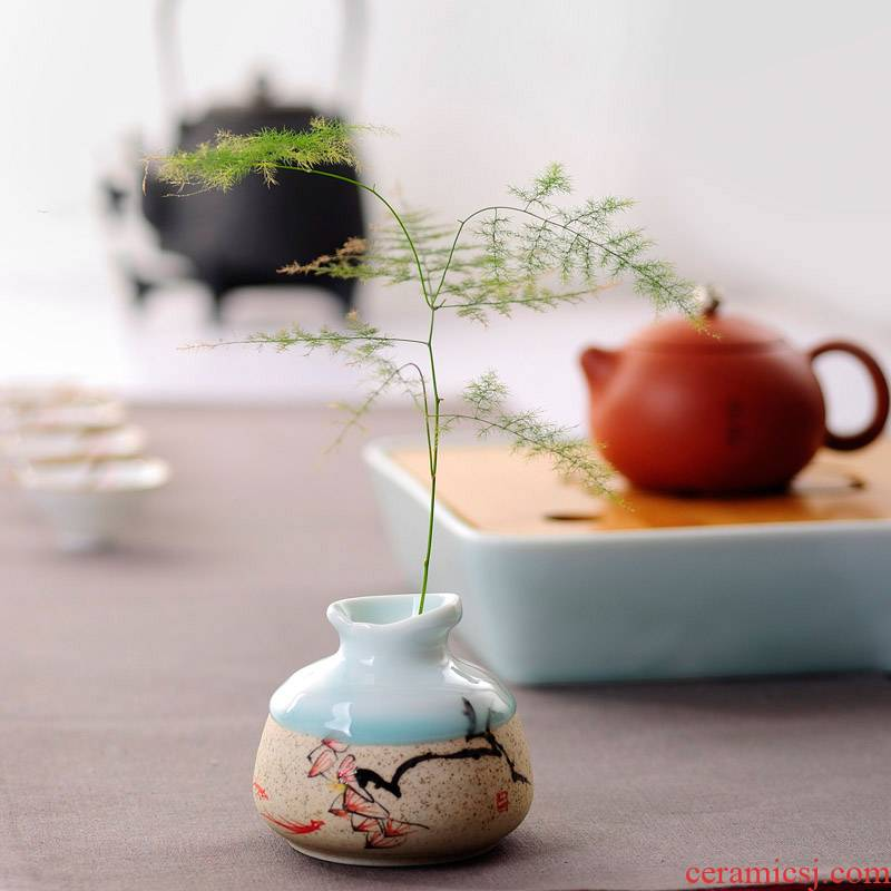 Zen Japanese ceramics floret bottle tea zero with mini floral outraged kung fu tea accessories creative tea tea furnishing articles