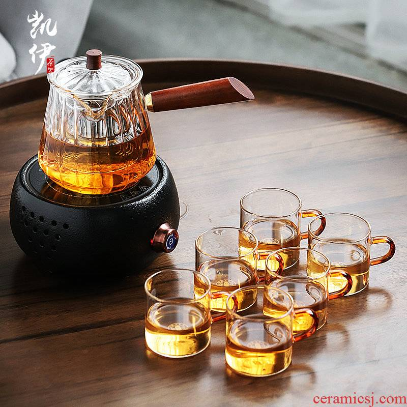 Thickening of the heat - resistant glass tea tea set suit Japanese glass teapot electric TaoLu boiled the teapot tea cup home