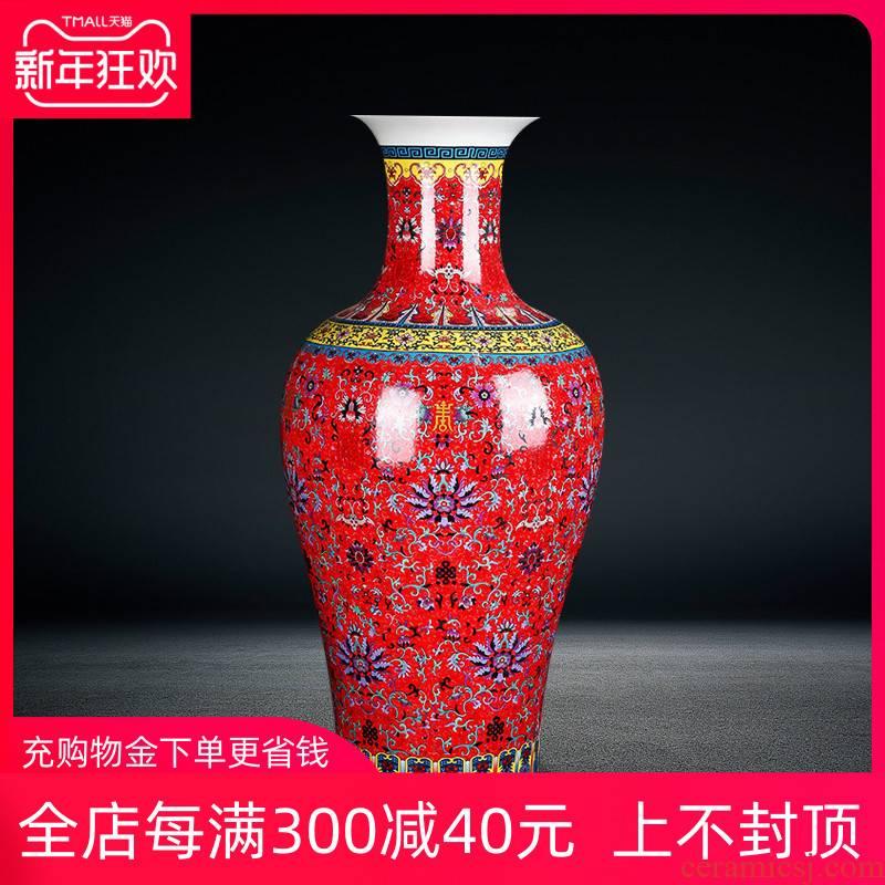Jingdezhen ceramics European - style colored enamel of large vases, flower implement sitting room adornment furnishing articles fishtail bottle arranging flowers
