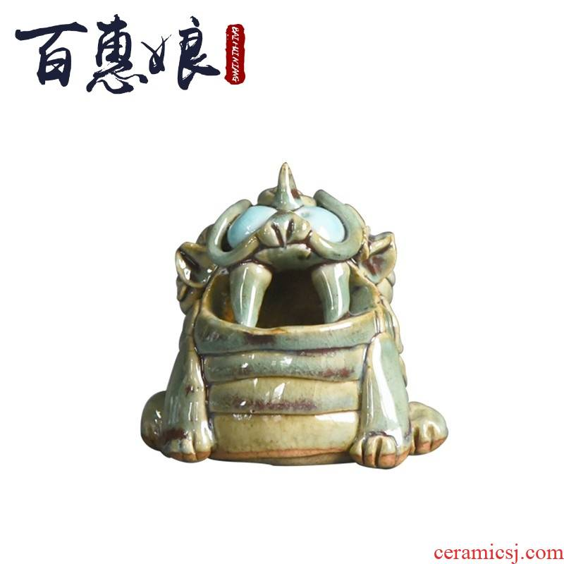 (niang checking coarse pottery censer coarse pottery lion incense, incense inserted tea pet tea spare parts