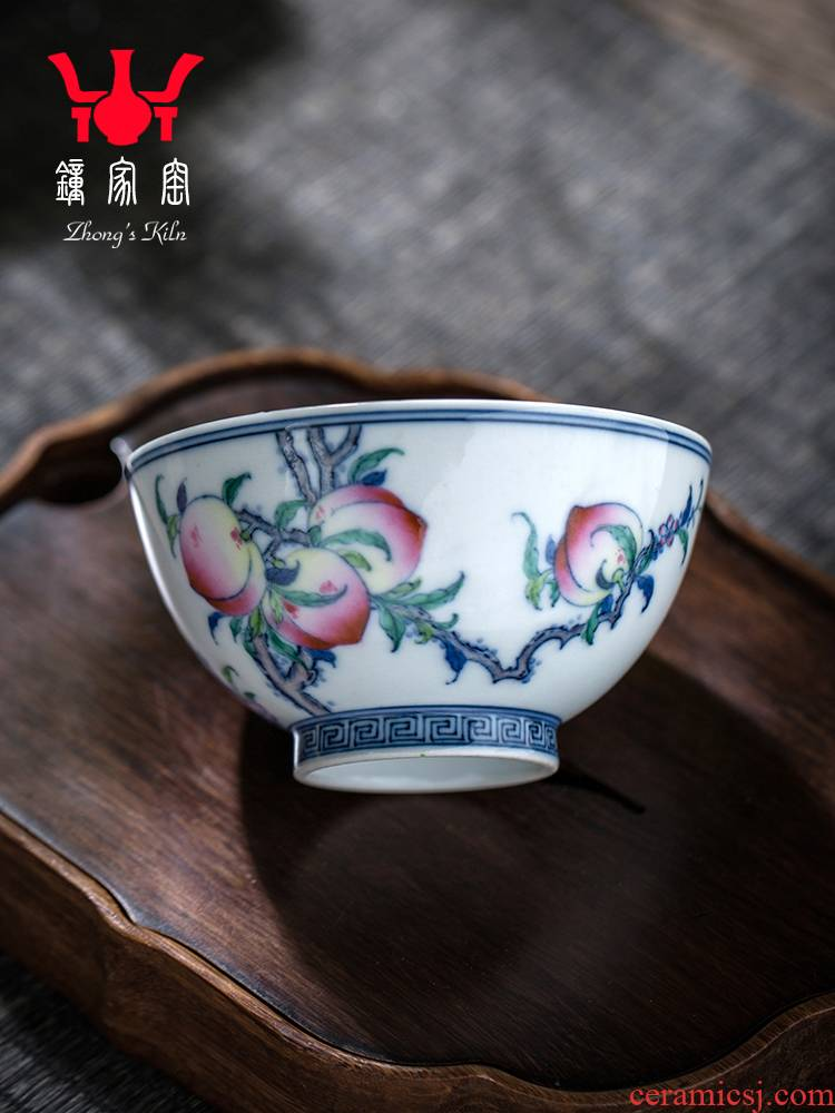 Clock home trade, one cup of single cup of jingdezhen blue and white color bucket maintain kung fu tea tea set peach grain tea cups