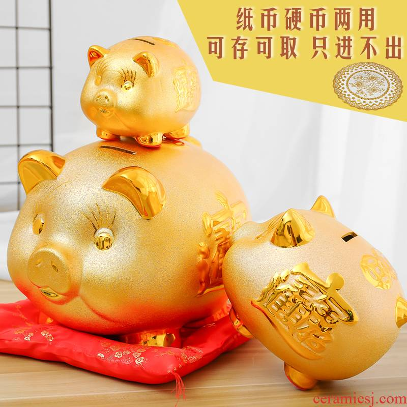 Ceramic the pig can save embellish super - sized piggy bank piggy bank plutus the opened the home furnishing articles and children