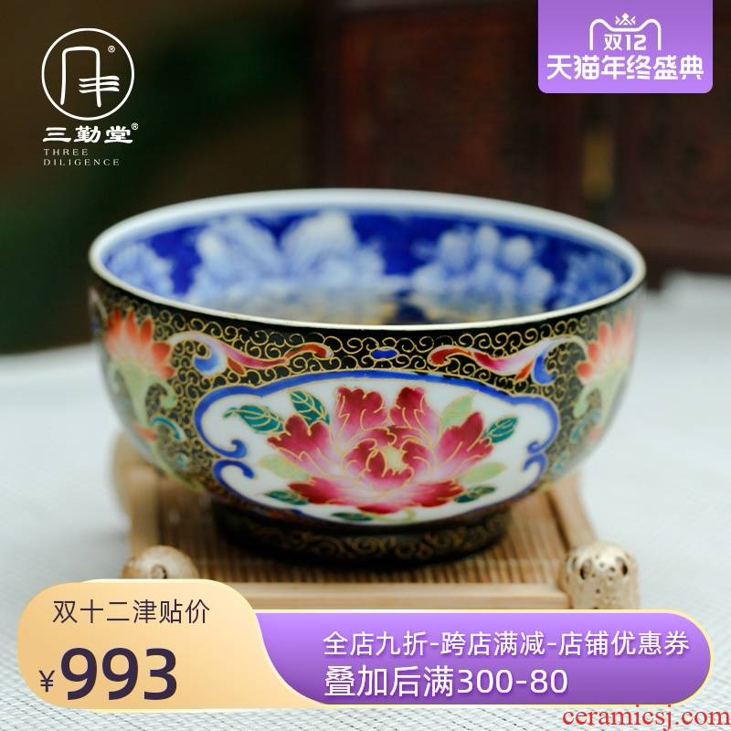 Three frequently in flower thread of colored enamel cup rich master cup sample tea cup of jingdezhen ceramic cups