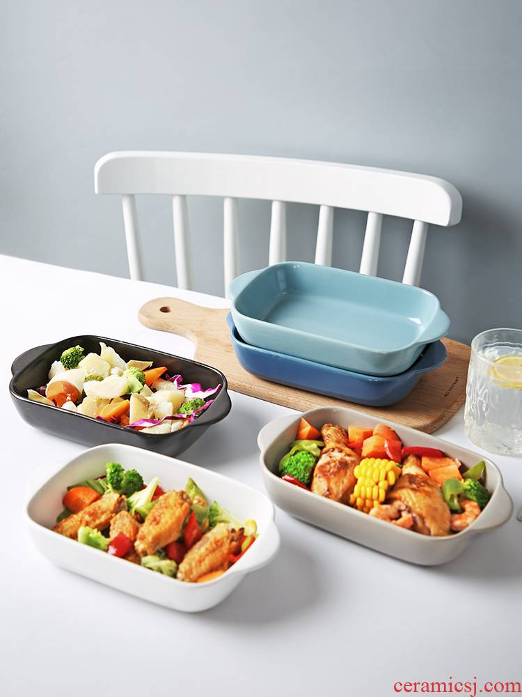 Ears meal plate web celebrity with Ears steamed egg home creative Japanese oven with pan paella ceramic bowl