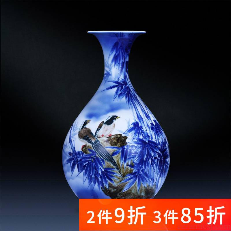 Jingdezhen porcelain ceramic hand - made of blue and white porcelain vase furnishing articles of new Chinese style household flower arrangement sitting room adornment is placed