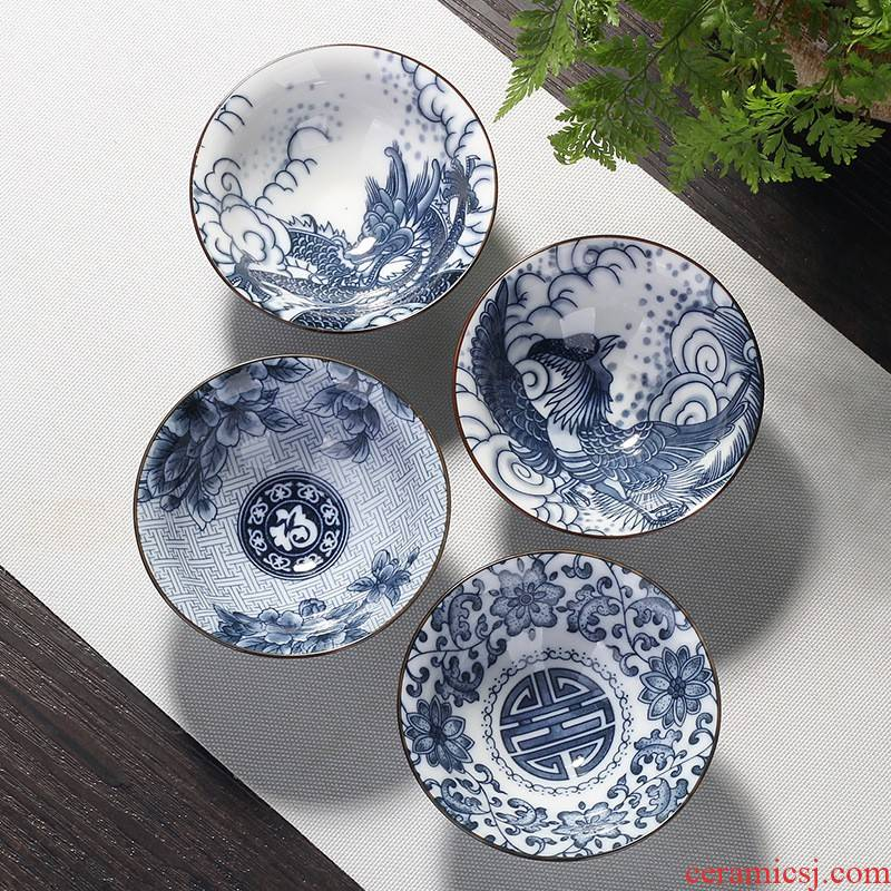Hui shi at upstream of blue and white porcelain cup suit kung fu ceramic cups Japanese tea masters cup single restoring ancient ways, sample tea cup