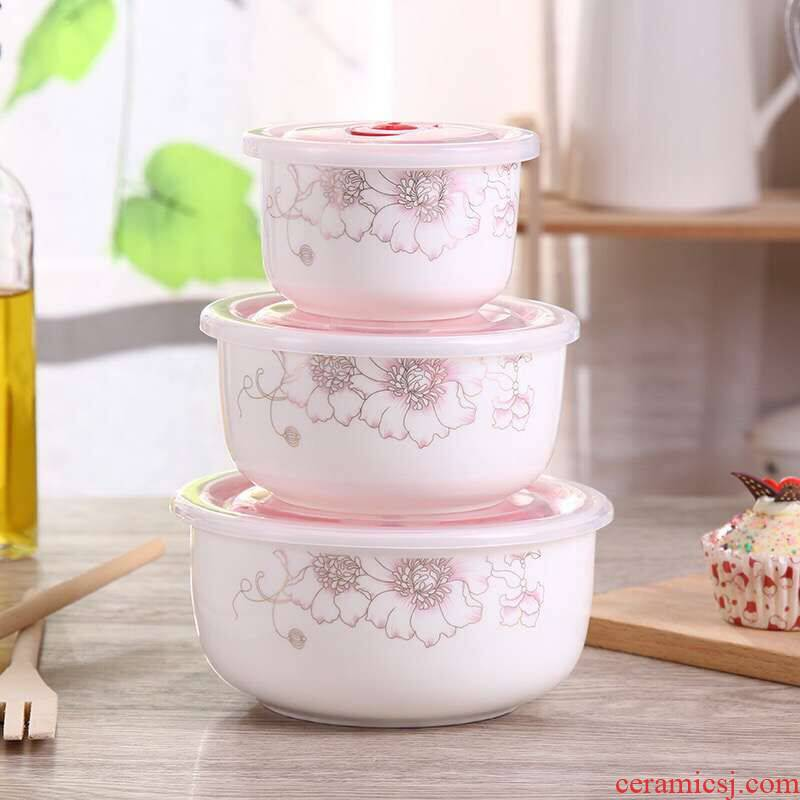 Household special ceramic bowl of three - piece 】 【 crisper ceramic preservation bowl three - piece microwave for lunch box