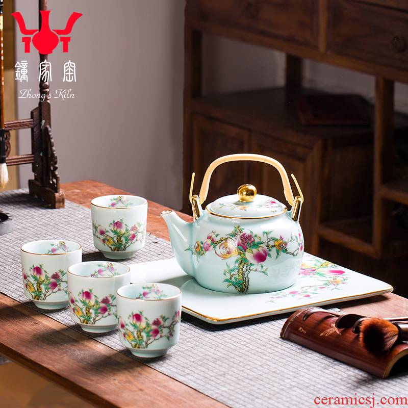 Clock home up enamel see kung fu tea set 6 piece have the teapot tea tray was a visitor of a complete set of jingdezhen tea service office
