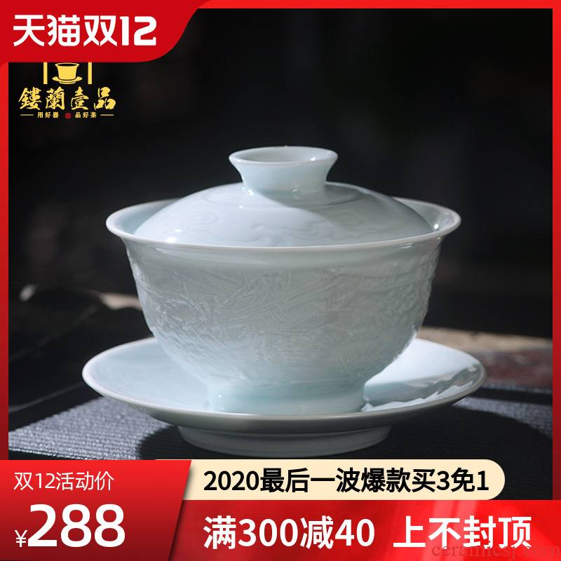 Jingdezhen ceramic shadow blue its qingming scroll only three tureen tea cups kunfu tea ware bowl with cover a single