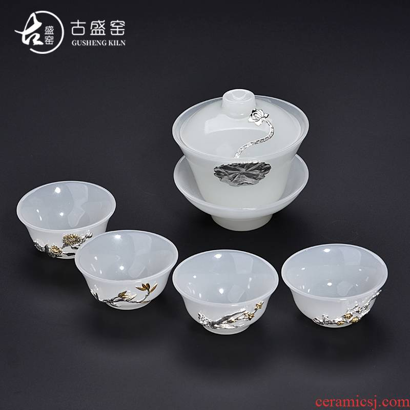 Ancient shing new jade white jade porcelain up set silver tureen tea cup set thickening heat - resistant sample tea cup of tea