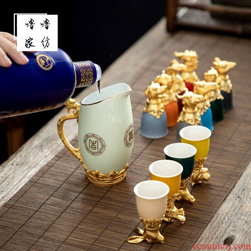 12 small glass household ceramic zodiac wine wine suits for Chinese wind high liquor cup