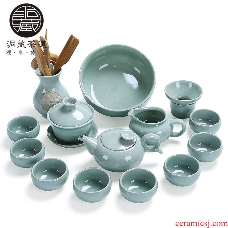 Elder brother up in building ceramic tea set household contracted Japanese kung fu tea set a complete set of tea cups lid bowl