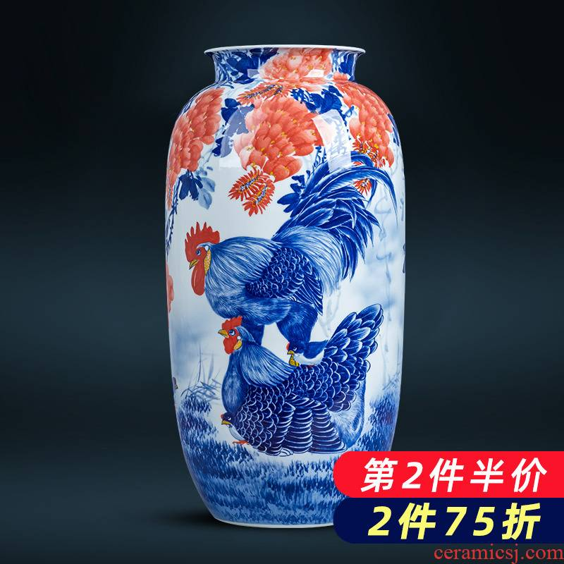 Jingdezhen ceramics hand - made cock figure family of blue and white porcelain vase housewarming decoration of Chinese style household furnishing articles