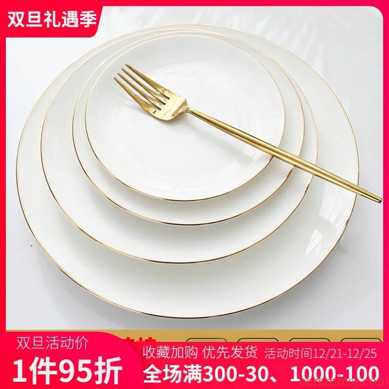 Ipads porcelain dishes son home creative breakfast tray ceramic plate beefsteak Jin Bianping dish plate plate