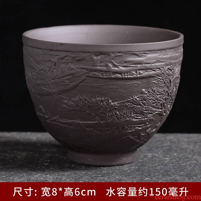 Purple blue and white ceramics single master kung fu tea tea tea cup, perfectly playable cup sample tea cup bowl suet jade