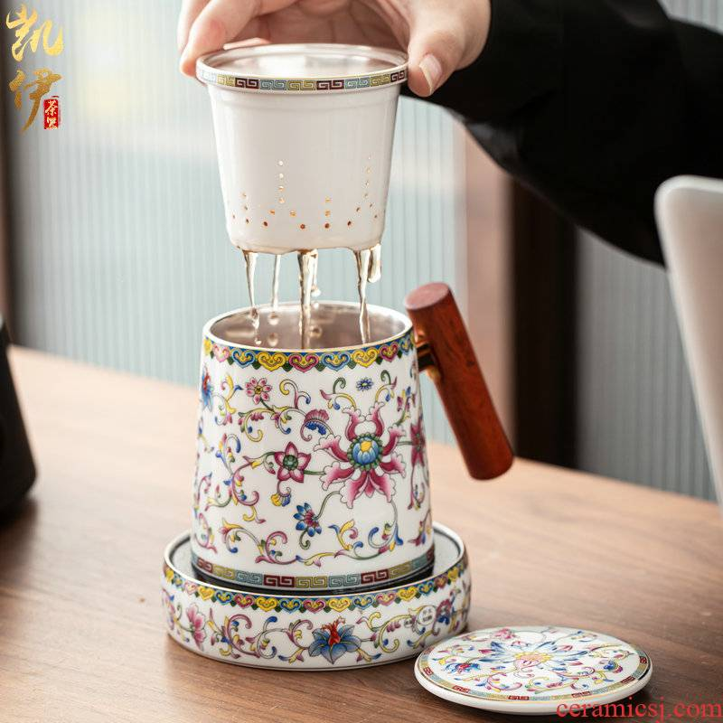 Colored enamel thermostatic group mark cup jingdezhen ceramic cup hand grasp a cup of tea filter cups tasted silver gilding office cup
