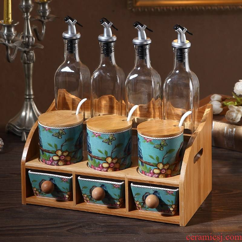 Ceramic kitchen condiment boxed set the clear glass creative household double seasoning salt pot capped combination