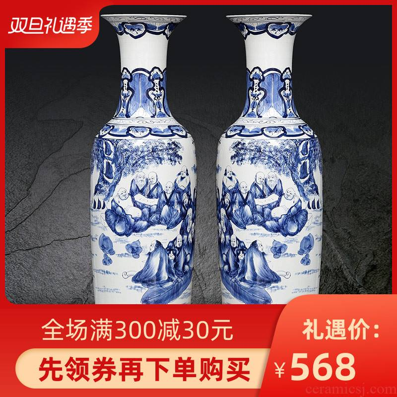 Jingdezhen ceramics landing large vases, antique hand - made porcelain 18 arhats Chinese sitting room adornment is placed