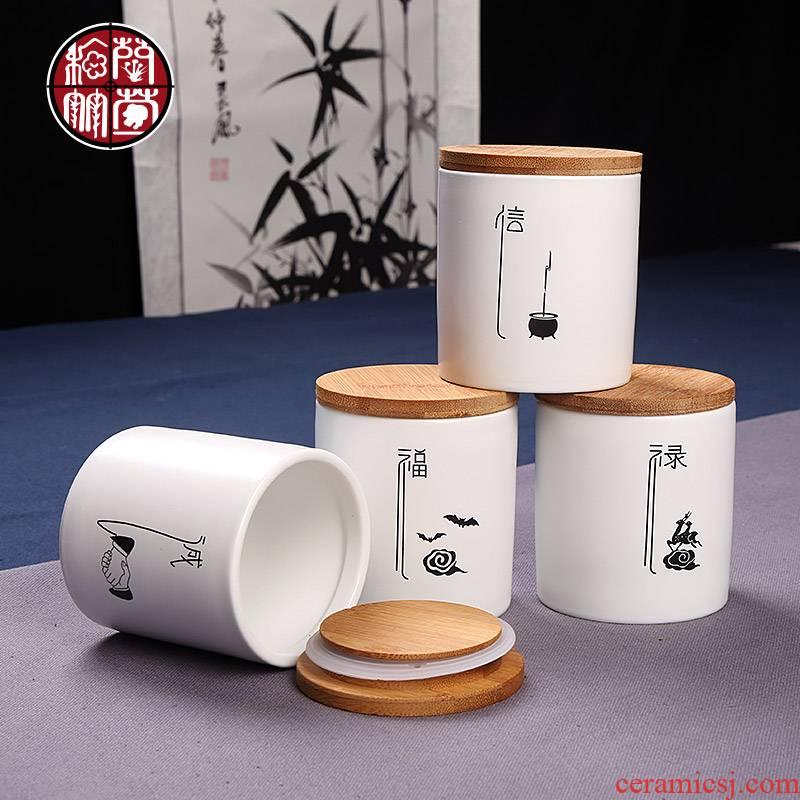 Caddy fixings small creative hand - made kunfu tea ceramic POTS moistureproof storage jar airtight household bamboo cover logo customization