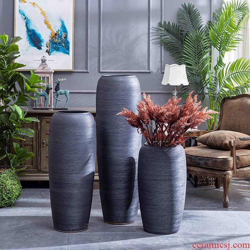 Jingdezhen ceramic floor retro black large vases, pottery flower arranging hotel villa home sitting room adornment