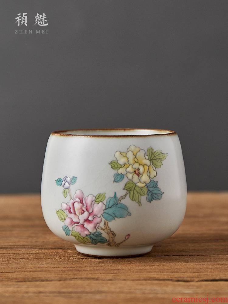 Shot incarnate your up on hand - made peony jingdezhen ceramic cups kung fu tea sample tea cup single CPU master CPU