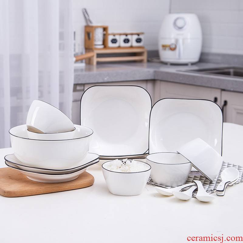 Dishes suit household contracted ins Nordic square ceramic tableware a black line 4 people eat bowl dish spoon combination