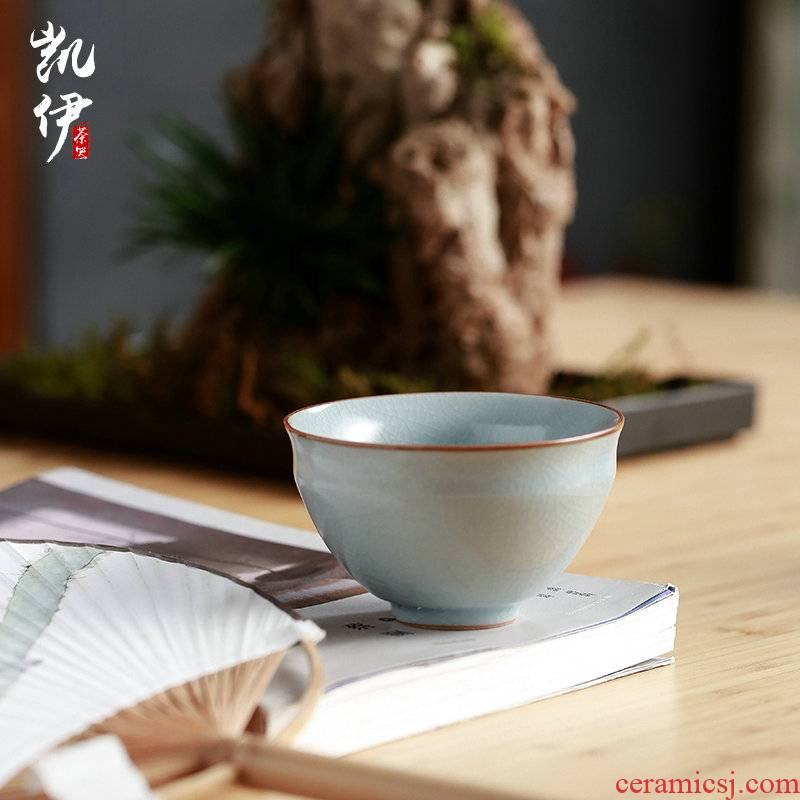 Ru up market metrix who cups sliced open your porcelain cups can raise kung fu tea set single glass ceramic large individual sample tea cup bowl