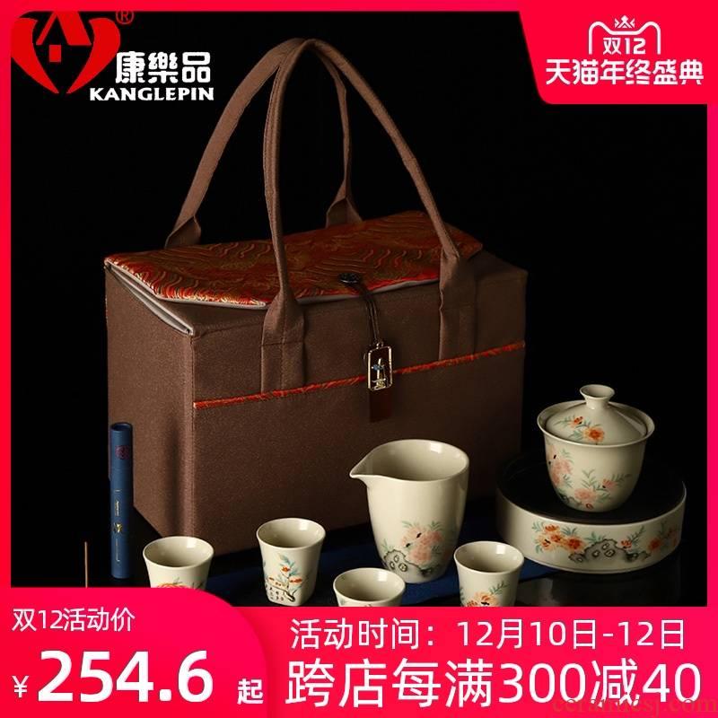 Recreational product plant ash glaze ceramic teapot set home only three tureen and a cup of tea pot bearing head make tea