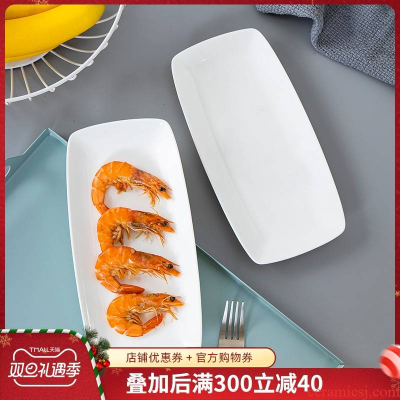 White ipads China dishes creative household ceramics Japanese rectangle plate ins wind plate tableware sushi fish dish