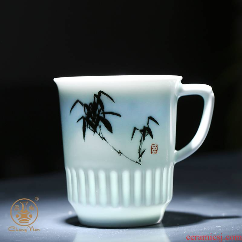 Chang south ceramic cups with cover glass jade bamboo wind the meeting office make tea cup hotel conference room, with the cup