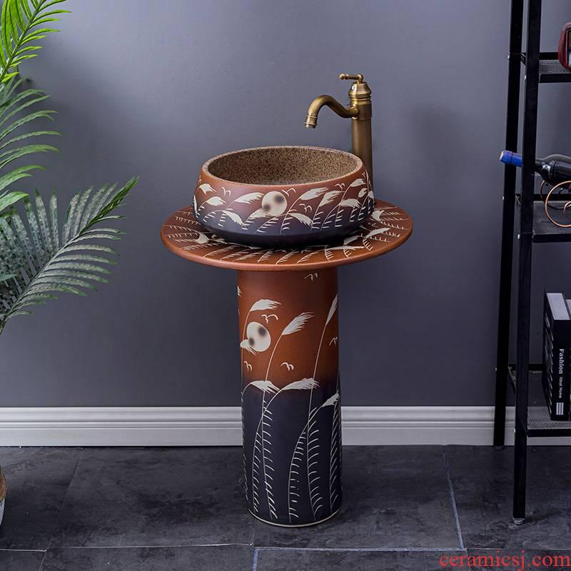 Household lavabo floor pillar basin courtyard balcony toilet stage basin integrated basin ceramic sinks 7
