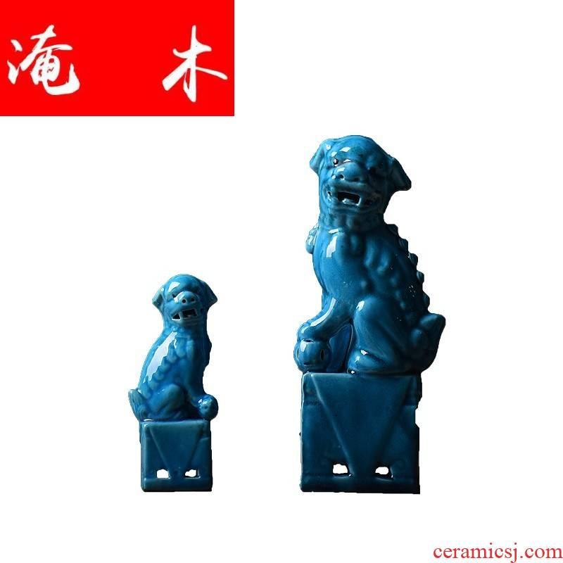 Flooded wooden fish, old plant porcelain of jingdezhen ceramic lion blue glaze blue glaze desktop furnishing articles town house standing to ward off bad luck