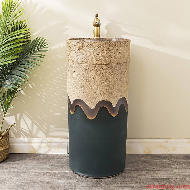 Floor pillar lavabo toilet ceramic lavatory basin balcony is suing the home a whole basin of 9