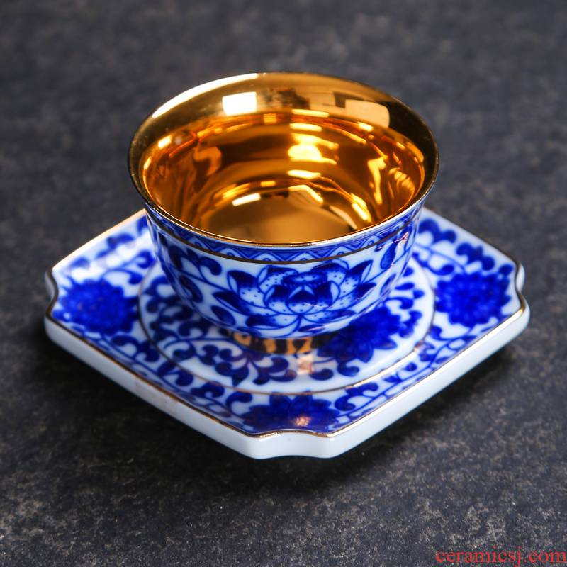 Kung fu tea ceramic masters cup hand - made paint sample tea cup all hand jingdezhen blue and white porcelain cups tea sets