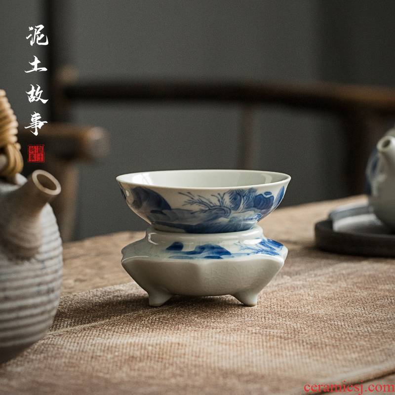 Jingdezhen hand - made) ceramic filter filter kung fu tea set of blue and white porcelain tea tea with parts across indicates the tea