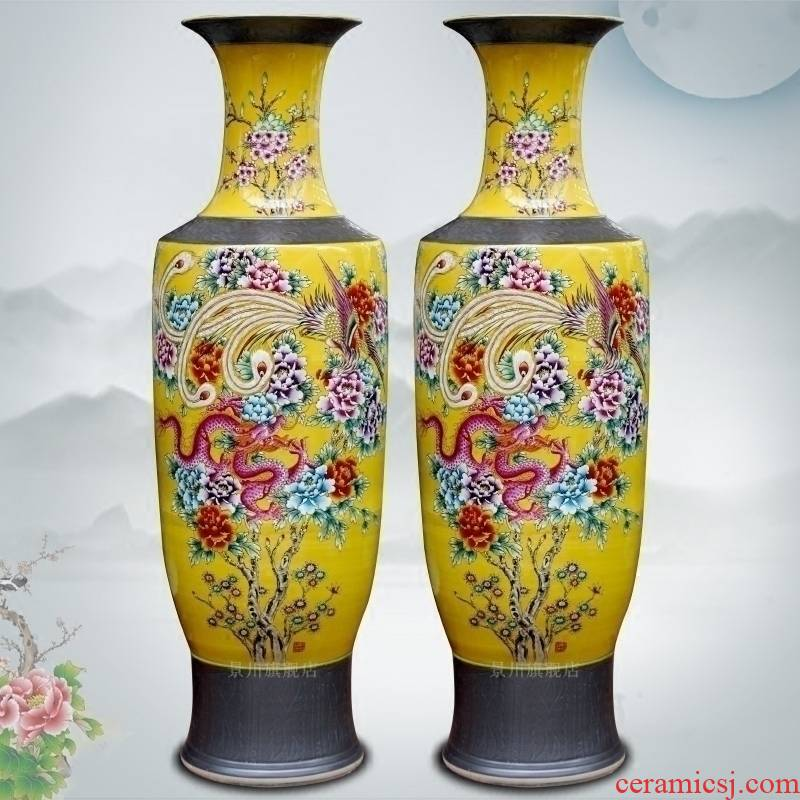 Jingdezhen ceramics hand - made in extremely good fortune yellow glaze of large vases, home sitting room hotel adornment furnishing articles