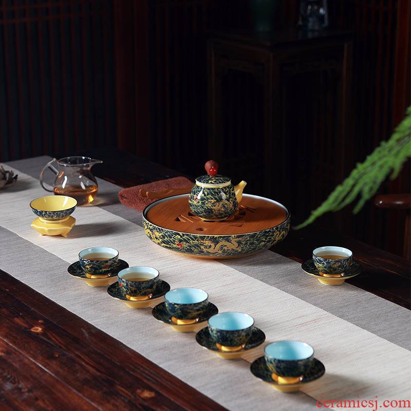 Jingdezhen household kung fu tea set ceramic porcelain tea tray teapot six cups of a complete set of large tea tray