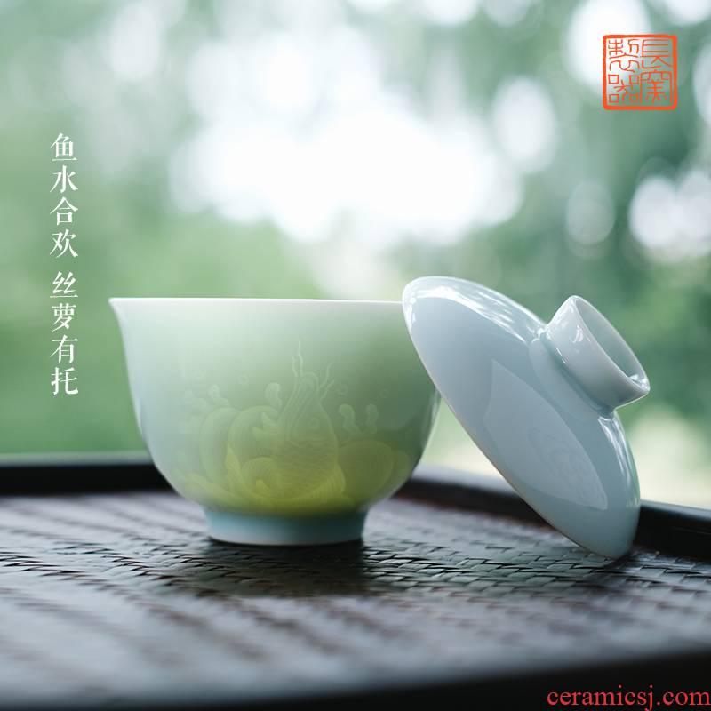 Long up is pure manual its shadow blue dark moment carp tureen tea cups of jingdezhen ceramic tea set by hand