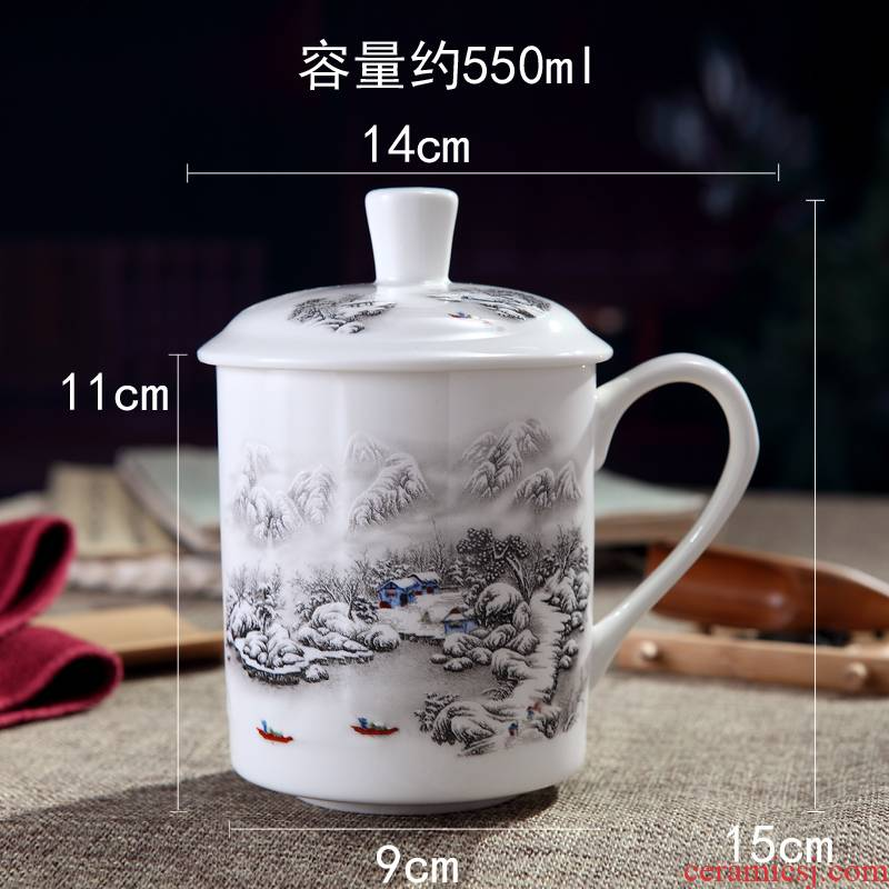 Jingdezhen blue and white porcelain of tea cup fine ceramic office cup with cover can be customized to add word ipads China cups