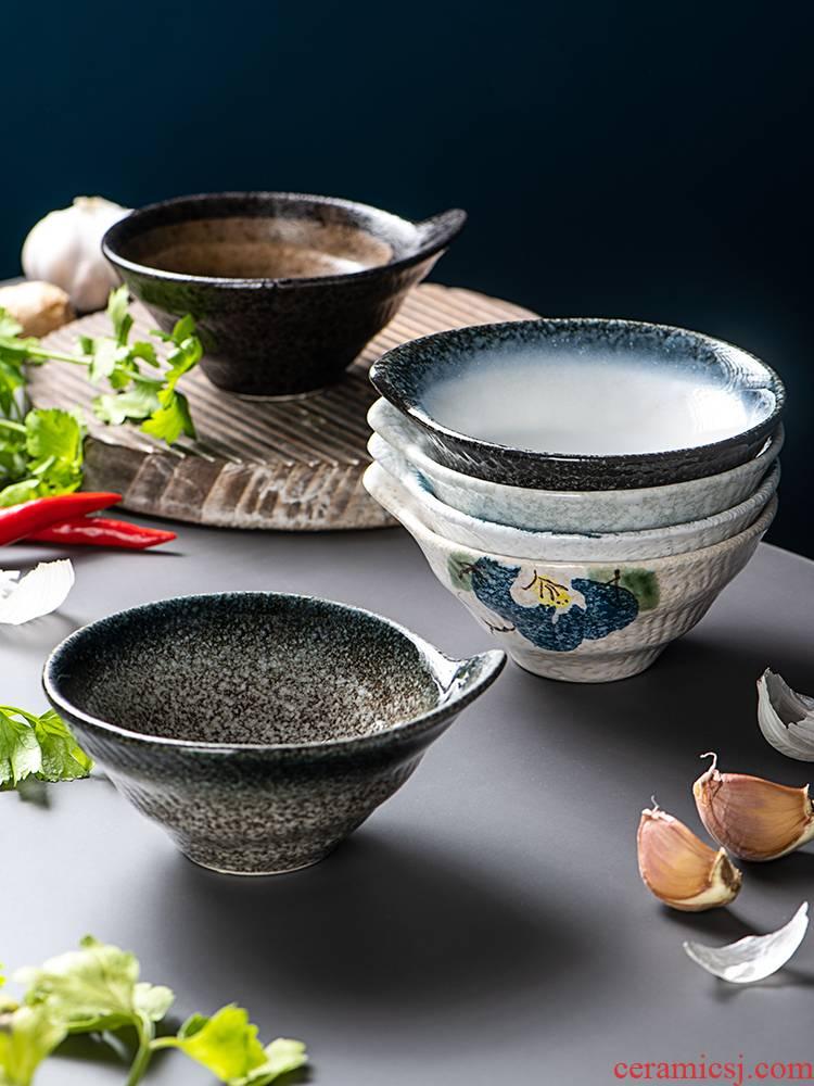 Snacks Japanese ceramic rice bowl dessert bowl bowl of hot pot seasoning sauce bowl bowl creative hat to small bowl bowl of threads