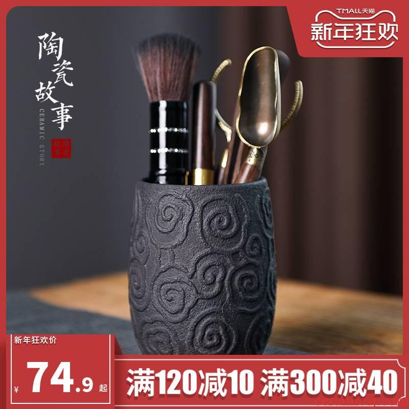 Ceramic story 6 gentleman kung fu tea tea tea tool parts of six gentleman 's suit tea accessories