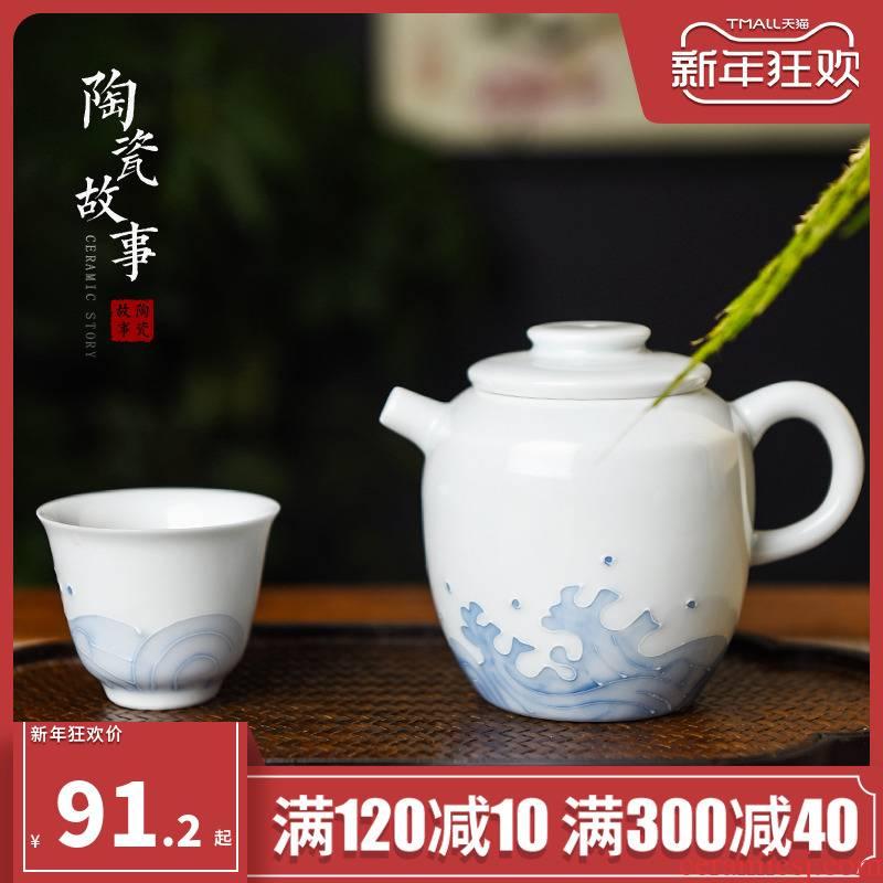 Story of pottery and porcelain of jingdezhen porcelain teapot single pot home of kung fu tea set manually high - grade ceramic small teapot