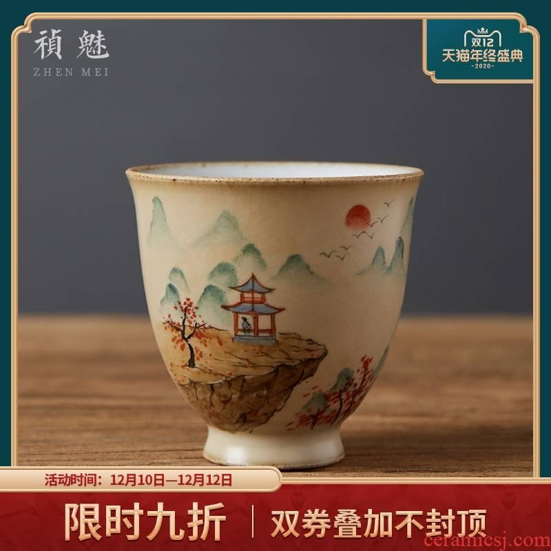 Shot incarnate your up hand - made jingdezhen ceramic cups kung fu tea set piece can keep sample tea cup master cup single CPU