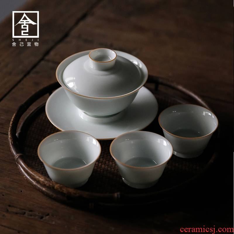 Jingdezhen cordless tureen pure manual operators can only cover cup bowl cups kung fu tea bowl of Japanese tea taking
