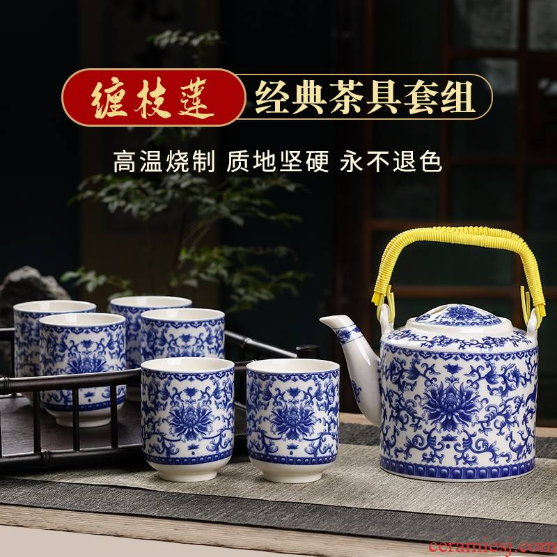 Blue and white porcelain of jingdezhen ceramics household of Chinese style kung fu tea set office cup pot of a complete set of the teapot