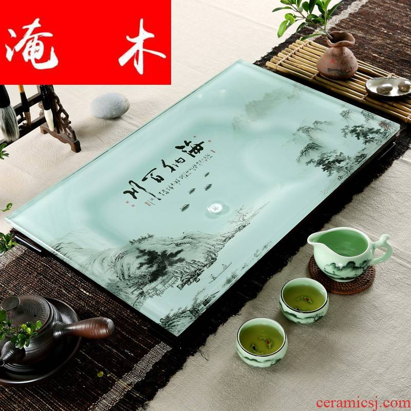 Flooded wooden household I and contracted a rectangle toughened glass tea tray was suit coloured glaze ceramic kung fu tea tea
