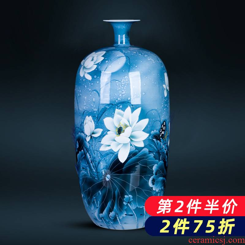 Jingdezhen ceramics hand - made expressions using lotus of blue and white porcelain vase furnishing articles housewarming gift of Chinese style household ornaments