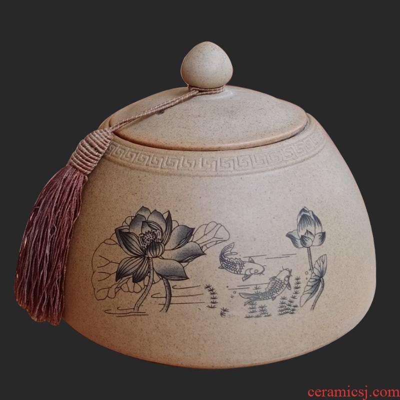 Ya xin coarse pottery tea pot ceramic seal moisture warehouse retro pu 'er tea tea box of large custom home
